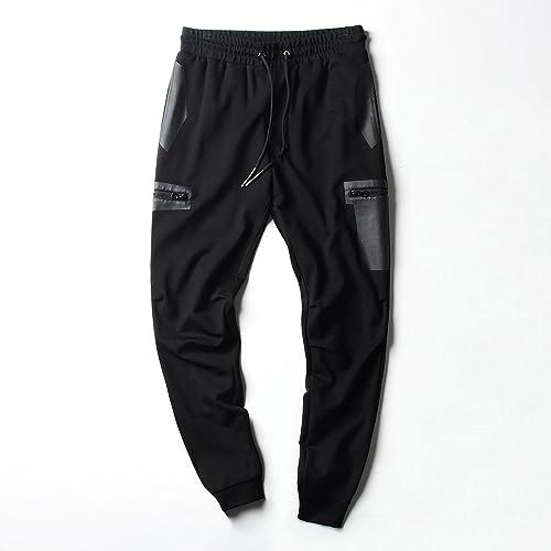 Dufjodi Un Pantalon Hommes Hommes Hommes Un Pantalon Pantalon Pantalon wei Pieds et Cheville fondule Pantalon,noir,185   XXL