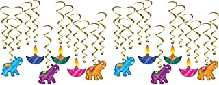 """Beistle 53679 Diwali Whirls 24 Piece Hanging Spirals Elephant and Colorful Lights Decorations, 15"""" - 28.5"""", Multicolored"""