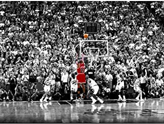 BPAGO Michael Jordan Basketball Sports Poster Print Poster Old Photo Large Wall Art Canvas Paintings Office Decoration Stretched Ready to Hang 40 x 30 inch