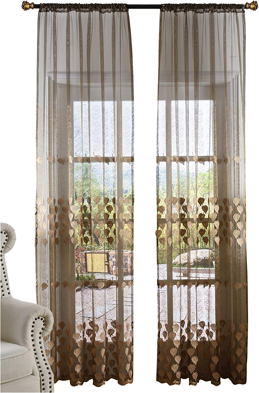 Beautiful Countryside Style Sheer Curtains Exquisite 3D Leaves Pattern Embroidered Window Treatment for Bedroom Living Room (1 Panel, W 50 x L 102 inch, Brown) 1300298C1BYBBN1501028508
