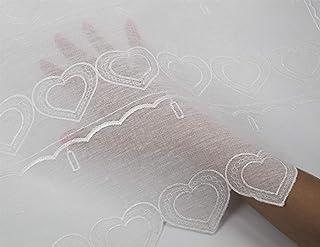 Tenda 60x150cm 3D Fiocco Beige Bianco Coppia Tendine Finestra Shabby Chic Cuore in Tessuto Ricamata Sweet Home