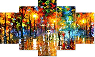 Saumic Craft Set Of 5 Modern Art Nature Scenery 3d Framed Wall Painting For Home Decoration , Living Room , Office , Hall...