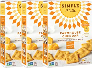 Simple Mills Almond Flour Crackers, Farmhouse Cheddar, 4.25 Ounce (Pack of 3)
