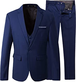 Men's Slim Fit Suit Blazer Jacket Tux Vest Pants 3 Pieces Suit Set