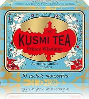 Kusmi Tea - Prince Vladimir - Russian Black Tea Blend with Vanilla, Bergamot & Other Spices - All Natural, Premium Loose Leaf Black Tea Blend in 20 Eco-Friendly Muslin Tea Bags (20 Servings)