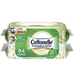 Cottonelle GentlePlus Flushable Wet Wipes with Aloe & Vitamin E, 42 Wipes per Pack (84 Total Wipes)