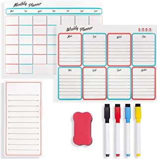 $29 » Magnetic Calendar for Refrigerator - Set of 3 Dry Erase Calendars for Fridge or Wall - Monthly, Weekly & Daily Family Pla...