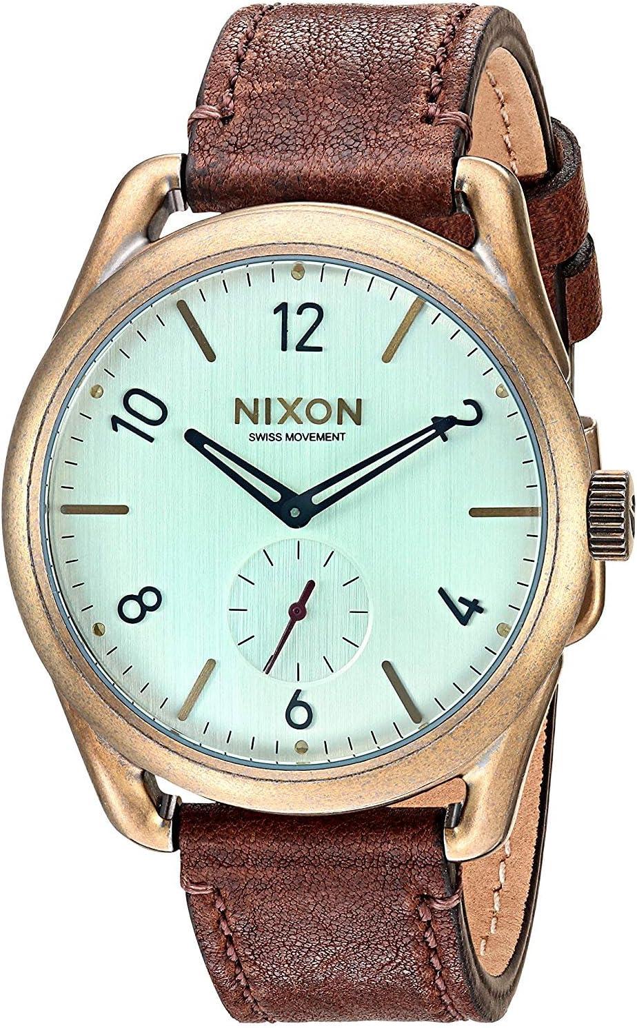 Nixon C39 Leather -Spring 2017- Brass/Green Crystal/Brown