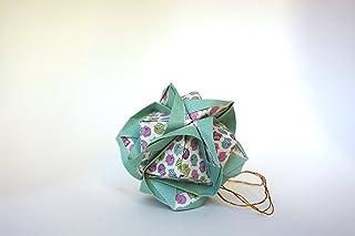 origami Clover Kusudama, 12 moduli verde con motivo di civette