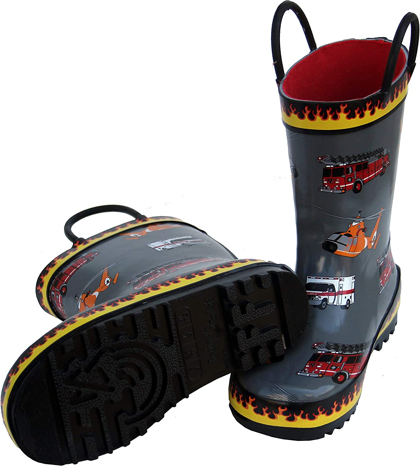 Foxfire for Kids Gray Rubber Boot Truck Fire Trim 55% Max 55% OFF OFF Helicopt Flame