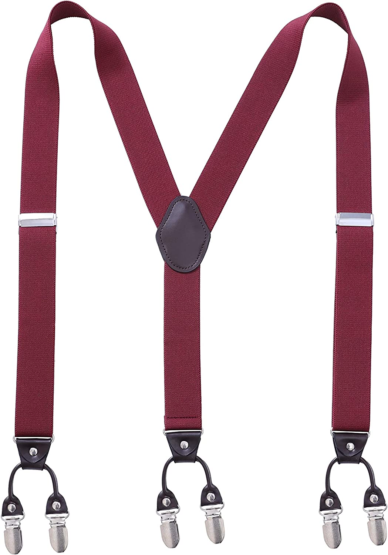 Men's Y-Shaped Wide Heavy Duty Suspenders with 4 or 6 Metal Clips Adjustable Elastic Straps