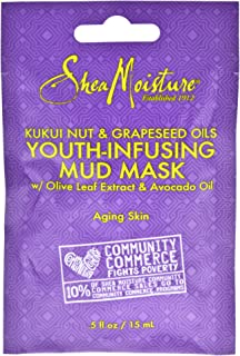 Shea Moisture Kukui Nut & Grapeseed Oils Youth-Infusing Mud Mask for Unisex, 0.5 Ounce
