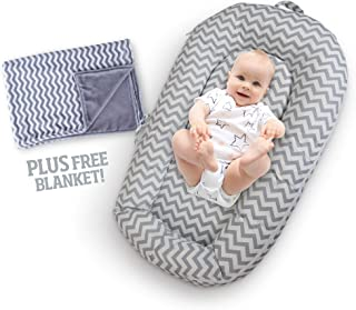 Baby Lounger w/Free Bonus Blankie – Extra Soft Portable Bassinet Pillow Nest for Infant w/Washable, Breathable Cotton Cover & Travel Bag – Great Newborn Gift Idea for Cosleeping (Gray)