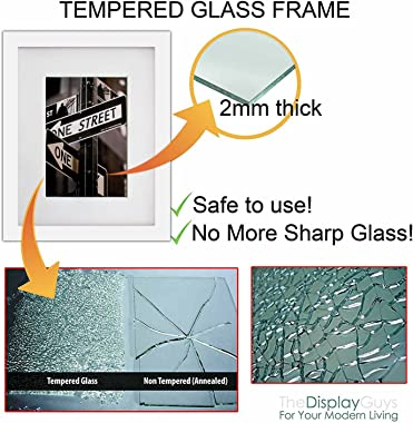 The Display Guys 16x20 Large Gallery Wall Decor Picture Frame Set of 7 (White Pine Wood, Real Tempered Glass w. Collage Mat B