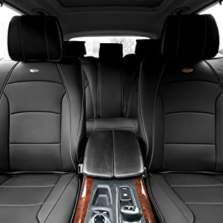 FH Group PU205115 Ultra Comfort Leatherette Seat Cushions (Split Bench), Black Color- Fit Most Car, Truck, SUV, or Van