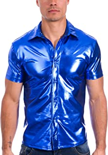 Mens Liquid Metallic Short Sleeve Button Down Nightclub Shirt