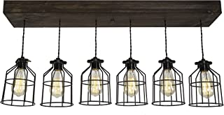 West Ninth Vintage Fayette Wood Pendant Chandelier Light - Farmhouse Rustic Lighting for Kitchen Island - Dining Room - Bar - Industrial - Billiard Table - Edison Cages - Six Pendants - Jacobean