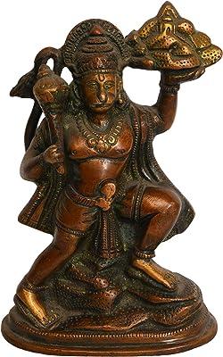 AONA Brass Ram Bhakat Hanuman Idol Statue Height : 6.2 inches