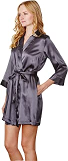 Wedding Prep Gals Women s Embroidered Satin Robe for Bridesmaid d0a11d700