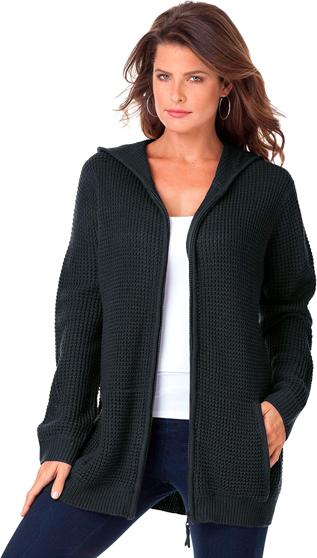 Roaman's Women's Plus Size Thermal Waffle Hoodie Cardigan Zip Up Sweater