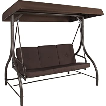 Best Choice Products 3-Seat Outdoor Steel Converting Patio Swing Canopy Hammock w/Cushion, Brown