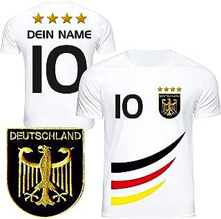 DE FANSHOP Deutschland Fussball Trikot Kinder mit gratis Wunschnamen und Nummer #D4 EM 2021 2022 Fussball Shirt als personalisiertes Geschenk für Kinder, Jungen, Mädchen, Baby, Herren, Damen