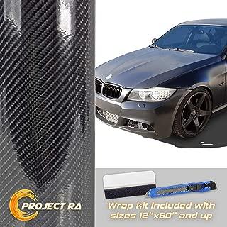 4/' x 5/' FT 7D Premium Hi Gloss Black Carbon Fiber Vinyl Wrap Bubble Free Release