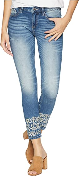 Embellished Ankle Skinny Jeans in Medium Blue