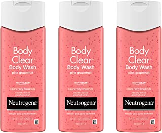 Neutrogena Body Clear Acne Treatment Body Wash with Salicylic Acid Acne Medicine, Pink Grapefruit Body Acne Cleanser to Prevent Breakouts on Back, Chest & Shoulders, 8.5 fl. oz (Pack of 3)