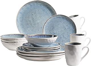 MÄSER 931857 Série Frozen Service de table en céramique pour 4 personnes, 16 pièces avec formes organiques, service mouche...