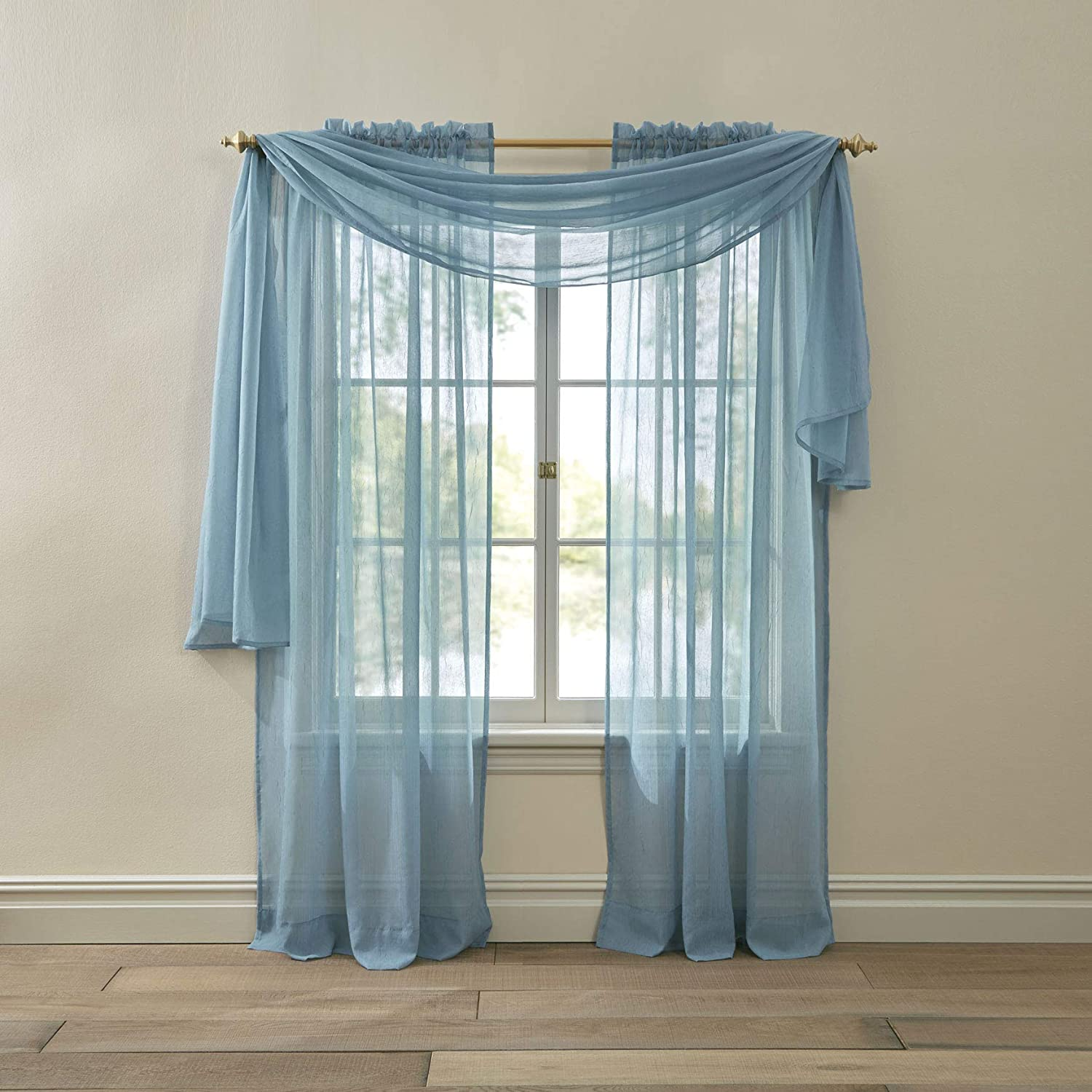 Amazon Com Brylanehome Crushed Voile Scarf Valance Powder Blue Home Kitchen