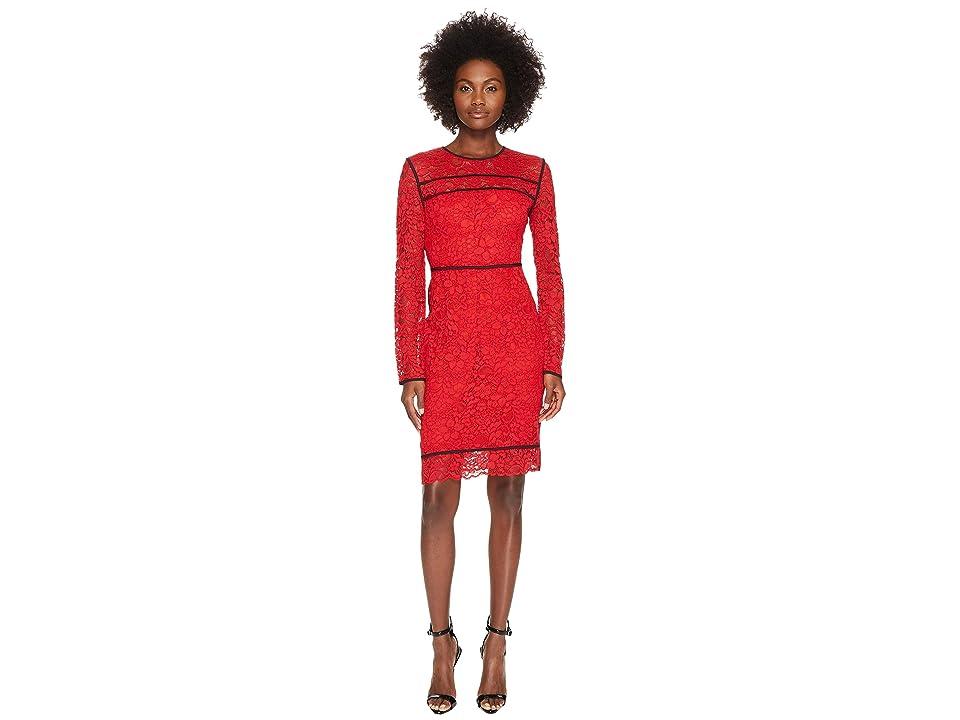 Sportmax Nancy Long Sleeve Lace Dress (Red) Women