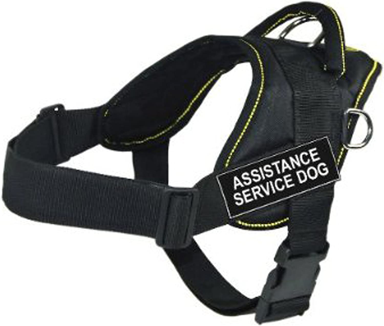 Dean & Tyler DT Fun Works Harness, Assistance Service Dog, Black With Yellow Trim, XLarge  Fits Girth Size  34Inch to 47Inch
