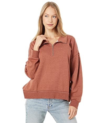 Dylan by True Grit Shay Double Fleece Drop Shoulder Zip-Up Sweatshirt