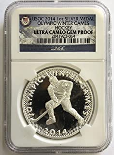 2014 USOC Olympic Games Hockey Silver Medal Proof - 1 Oz .999 Fine Silver - NGC Ultra Cameo Gem Proof