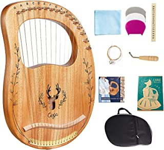 Lyre Harp, 16 Strings Mahogany Solid Wood Metal String Adult/Child Musical Instrument, With Tuning Wrench Pick, Black Gig Bag, and Music Tutorial for Beginner Instrument Lovers (Wood color)