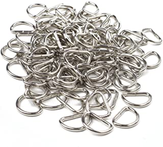 BIHRTC Pack of 100 Non Welded Nickel Plated 3/4 inch Metal D Ring Buckles for Webbing Hand Bags Leather Craft