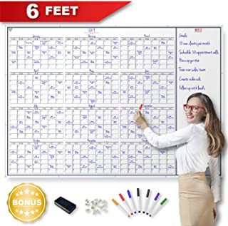 2020 Yearly Wall Calendar - Large Dry Erase 12 Month Erasable Planner with White Board Notes Section Including Markers - Big Chore Organizer for Office, Family, Kids, Classroom, Home, or Business.