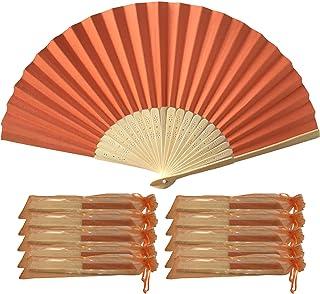 Abanicos de papel y bambú para regalo de boda (10 unidades), naranja