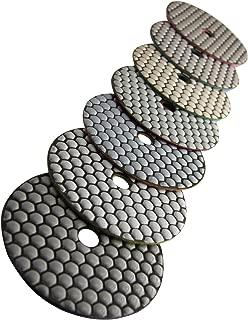 Easy Light Premium Grade 5 Inch Diamond Dry Polishing Pads for Sanding Marble Granite Stone Pack of 7 Grit 50-3000