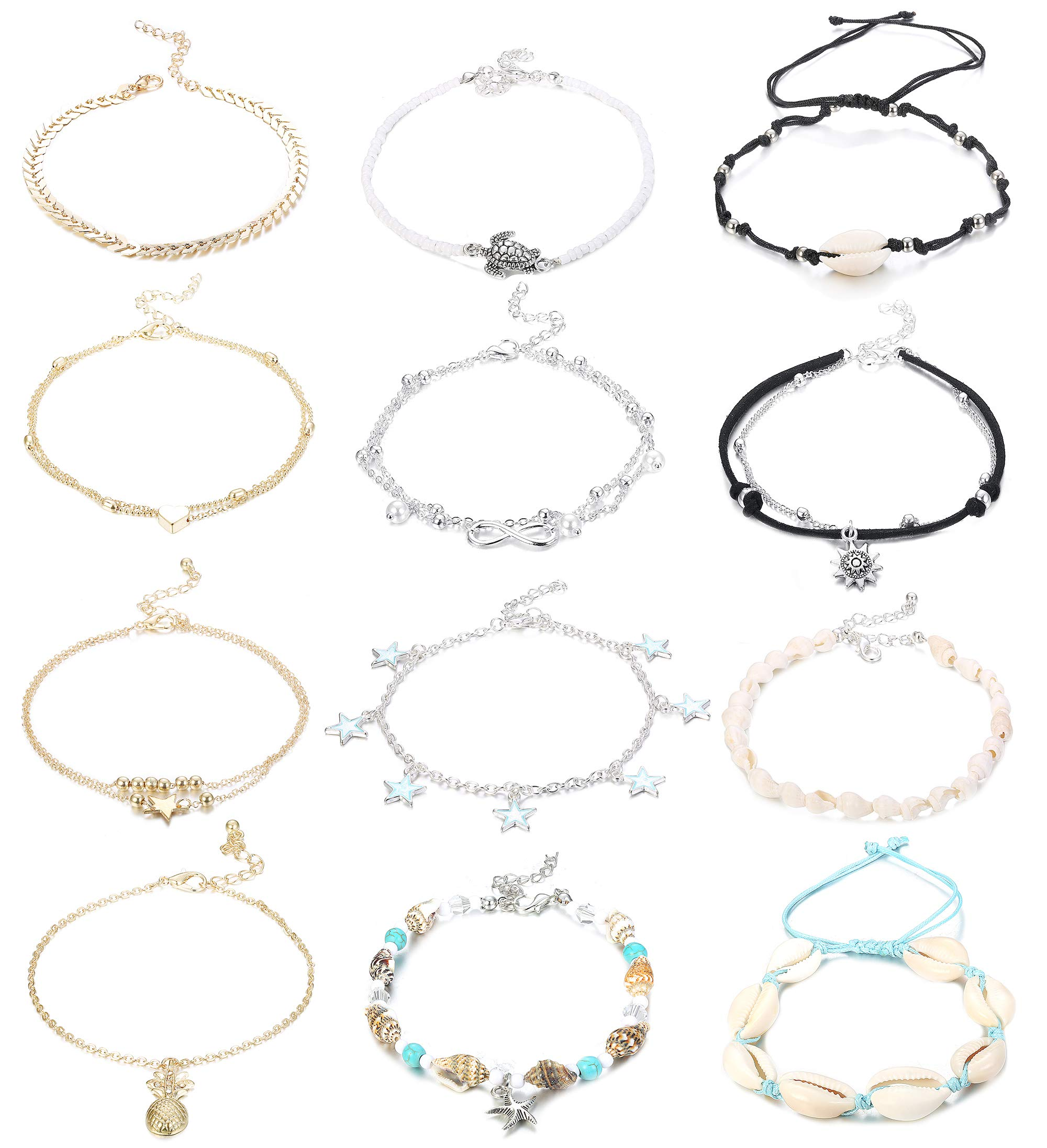 Hicarer 25 Pieces Ankle Chains Bracelets Adjustable Beach Anklets Boho Foot Jewelry Set for Women Girls Favors