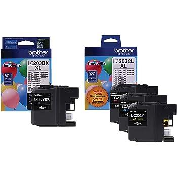 Brother LC203 Ink Cartridge (Black, Cyan, Magenta, Yellow, 4-Pack) in Retail Packaging