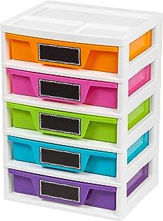 IRIS USA, Inc. PJD-305 5 Drawer Storage & Organizer Chest, Assorted Colors, Girl, Pastel