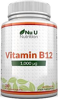 Vitamina B12 1000 μg - B12 Metilcobalamina de Alta Potencia - 180 Comprimidos Vegetarianos y Veg...