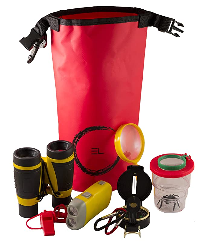 Kids Outdoor Adventure Bug Explorer Kit Waterproof Dry Bag, Bug Container, Magnifying Glass, Binoculars More (9 Piece Set)