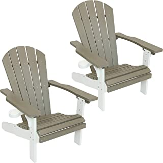Sunnydaze All-Weather Adirondack Patio Chair with Two-Tone Faux Wood Design Set of 2, Gray/White