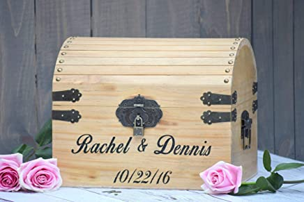 Lockable Engraved Wooden Card and Memory Chest - Rustic Wedding Card Chest - Personalized Gift - Rustic Wedding Decor - Wedding Card Holder - Personalized Card Box