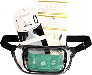 Clear Fanny Pack Festival Kit For Women with Foldable Flask, Temporary Tattoos and 3 Flushable Wet Wipes for Festivals, Raves, Concerts, Sporting Events