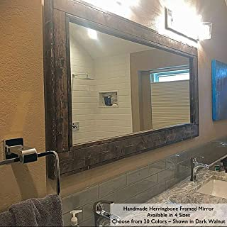 Herringbone Reclaimed Wood EX LARGE Framed Mirror, Available in 4 Sizes and 20 Stain colors: Shown in Dark Walnut - Bathroom Vanity Mirror - Mirror Wall Mounted - Rustic Decor