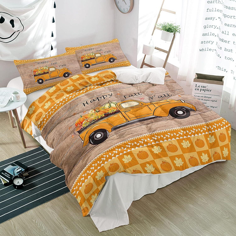 Full wholesale Duvet Cover Set Farmhouse Pumpkin Max 59% OFF Piece Truck Board 3 Wood